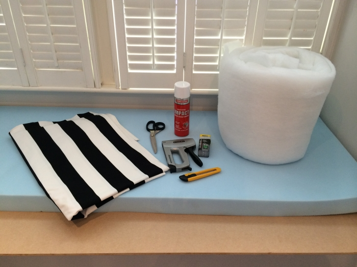 diy no sew bay window seat cushion. Black Bedroom Furniture Sets. Home Design Ideas