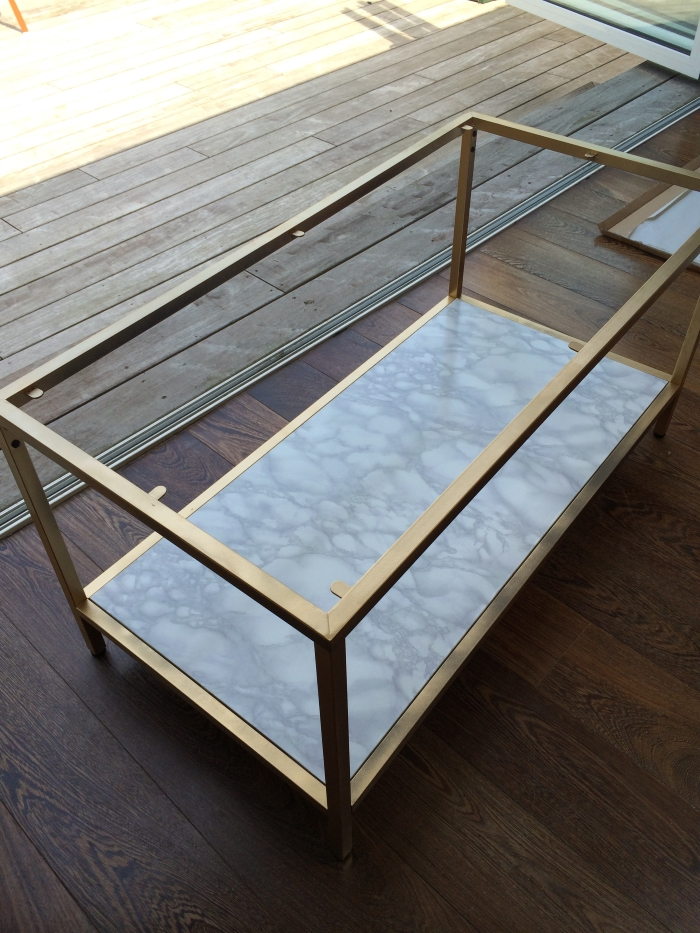Ling Yeung B Diy Gold And Faux Marble Coffee Table Ikea Hack